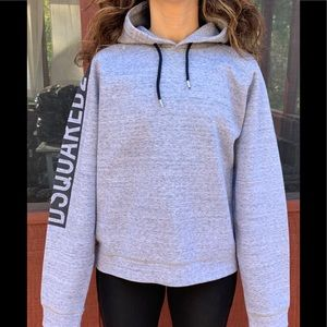 DSquared2 gray hooded sweatshirt, made in Italy, L